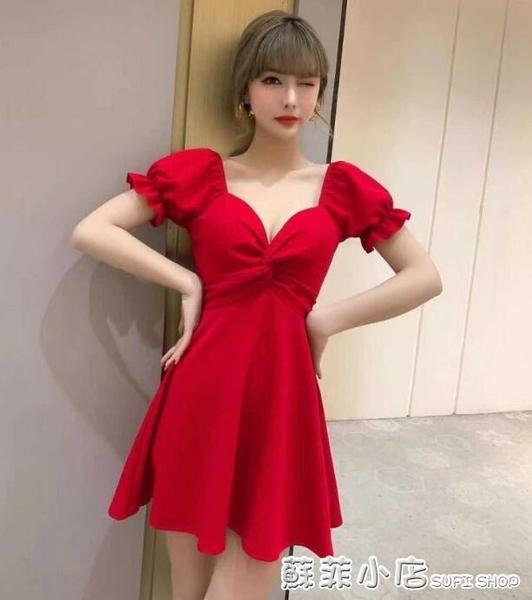 氣質女神范衣服顯瘦超仙性感夜店名媛有女人味的洋裝大碼小黑裙 蘇菲小店