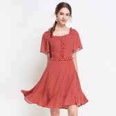 中大尺碼~圓點印花拼接短袖連衣裙(L~5XL)