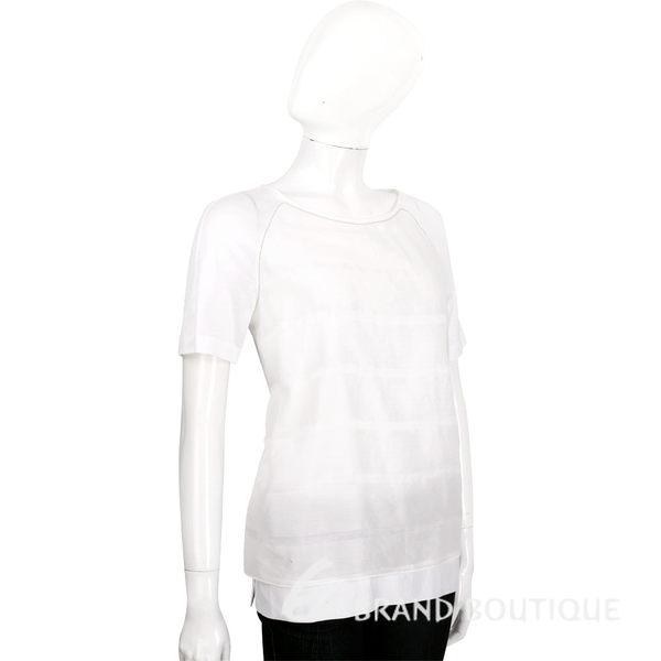 FABIANA FILIPPI 白色拼接絲質短袖上衣 1620194-20