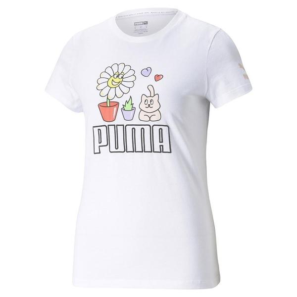 【現貨】PUMA Summer Streetwear 女裝 短袖 休閒 可愛小花 印花 白 歐規【運動世界】53255202