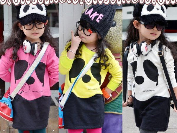 *╮小衣衫S13╭*大大熊貓拼色內刷毛長版T1011032