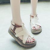 涼鞋鬆糕厚底涼鞋女學生夏新款百搭韓版平底學生簡約羅馬軟妹女鞋
