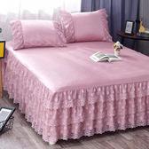 夏季冰絲涼席床裙式床罩蕾絲花邊三件套保護套1.8m2.0米床套防滑 (一件免運)