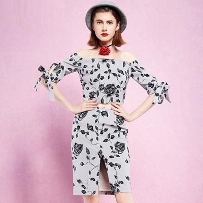 露肩一字領上衣+短裙(兩件套)-時尚優雅玫瑰印花女裙裝73lk30【巴黎精品】