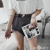 腰帶皮帶女簡約百搭韓國時尚ins風復古網紅黑色牛仔褲女士裝飾寬腰帶 蘿莉小腳丫