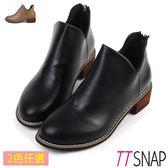 TTSNAP短靴-率性增高修長後拉鍊中跟踝靴 黑/卡其