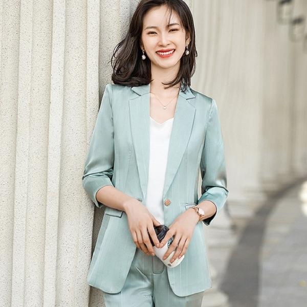 緞面亮感直紋五分袖西裝上班外套[21S171-PF]美之札