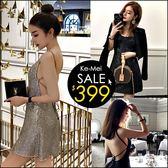 克妹Ke-Mei【ZT47519】泰國潮牌 派對焦點性感交叉露肩亮片連身洋裝