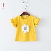 T恤—女童T恤韓版童裝嬰幼兒童寶寶棉質太陽花短袖上衣小童打底衫潮 依夏嚴選