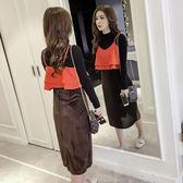 春秋裝女裝潮中長款復古絲絨吊帶裙時尚拼色兩件式洋裝連身裙