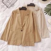棉麻小西裝女春秋夏新款韓版時尚休閒中長款小西服薄款百搭外套女 極速出貨