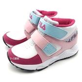 《7+1童鞋》FILA 2-J826T-122  高筒  魔鬼氈  機能運動鞋 4263  桃色