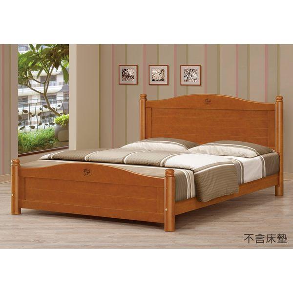 【森可家居】5尺圓柱柚木色雙人床 8CM649-1
