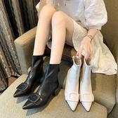 短靴 歐洲站性感尖頭短靴女2020新款時尚方扣細跟拉鏈瘦瘦靴女春秋單靴 萬圣節