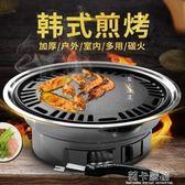 圓形燒烤爐戶外木炭全套不銹鋼韓式無煙家用商用燒烤架烤肉鍋煎盤igo  莉卡嚴選