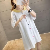 夏季韓國200斤學生娃娃領洋裝女裝胖妹妹遮肚寬鬆大碼短袖T恤裙 小城驛站