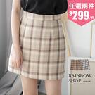 藍紋起士蛋糕格紋褲裙-G-Rainbow【A388190】