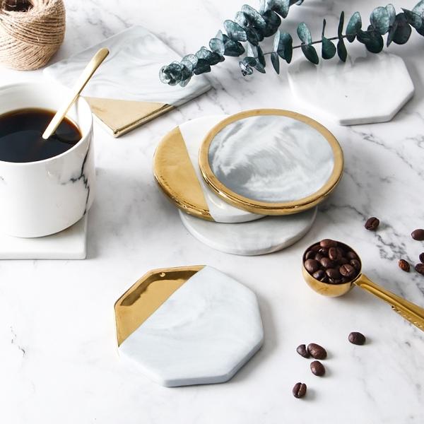 北歐風 大理石鍍金幾何圖形陶瓷杯墊 大理石紋 咖啡杯墊 隔熱墊【RS852】
