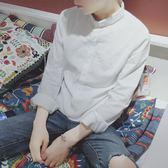 白襯衫男長袖韓版修身小領白色襯衣chic純棉寸衫亞麻休閒潮流『櫻花小屋』