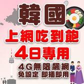 現貨 韓國 4日旅遊網卡 不降速 4G高速飆網韓國網卡吃到飽/南韓網卡/網路卡/韓國上網卡/韓國wifi