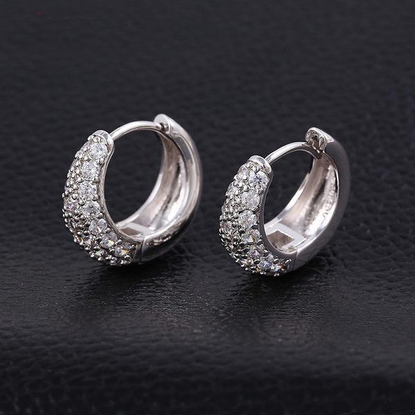 防抗過敏 珠寶微鑲 天然白水晶 弧形小耳圈扣耳環-銀