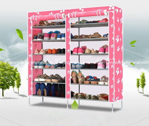 【牛津布雙排鞋架】超大容量DIY豪華雙門七層鞋櫃收納7層12格置物架(附防塵套)
