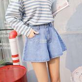 褲裙 牛仔短褲女季新款韓版高腰顯瘦寬鬆褲裙a字褲百搭闊腿熱褲 卡菲婭
