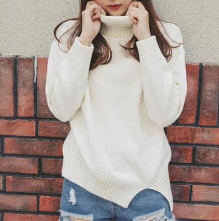 【TU17】秋裝寬鬆高領羊毛衫 短版開叉慵懶加厚長袖毛衣7046