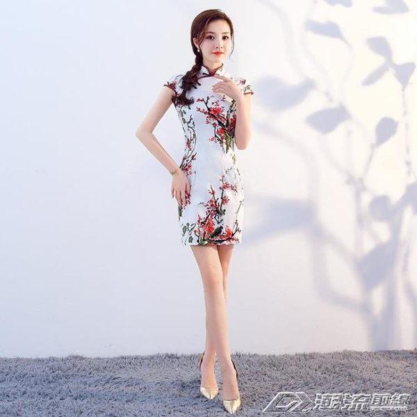 短旗袍夏季新款文藝棉麻修身顯瘦復古日常短款改良傳統洋裝  潮流前線