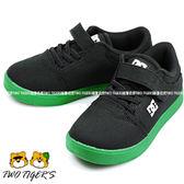美國DC 黑色 帆布 魔鬼氈 滑板鞋 中童鞋 NO.R1422
