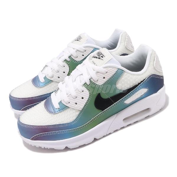 Nike 休閒鞋 Air Max 90 20 GS 白 彩色 泡泡系列 氣墊 女鞋 大童鞋 【PUMP306】 CT9631-100