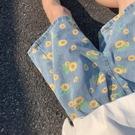 夏季ins小雛菊印花休閒牛仔短褲男女情侶韓版寬鬆痞帥五分直筒褲 韓美e站
