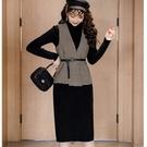 文藝風千鳥格復古俐落兩件套裝(黑毛織連身裙+千鳥格背心)附腰帶[98963-QF]美之札