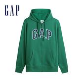 Gap男裝 Logo棉質刷毛內裡連帽外套 567863-綠色格紋