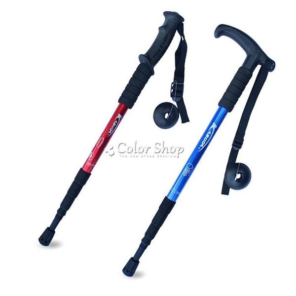 登山杖鋁合金徒步杖健走杖伸縮T柄旅行爬山手杖戶外裝備直柄 color shop新品 YYP