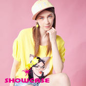【SHOWCASE】棉麻感俏皮女孩印花寬鬆上衣(黃)