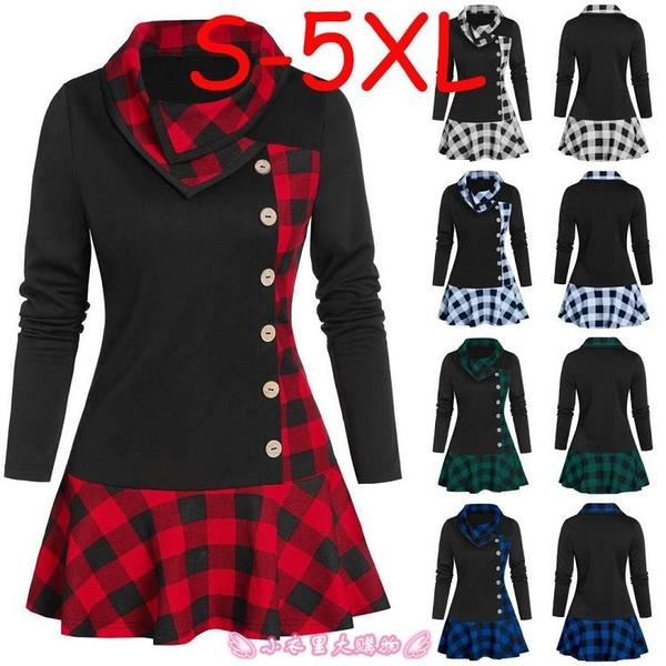 大學T The S-5XL plaid ladies' patchwork dresses大碼女士格子連衣裙 - 小衣里大購物