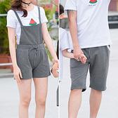 韓版簡單鈕釦豎條背帶短褲親子裝(大人)