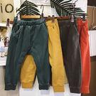 長褲 男女童春款水洗彈性腰哈倫褲 W75...