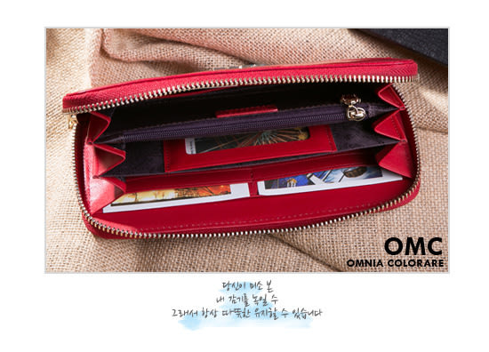 OMC - 韓國專櫃品牌立體楓葉真皮款單拉鍊長夾- 質感紅