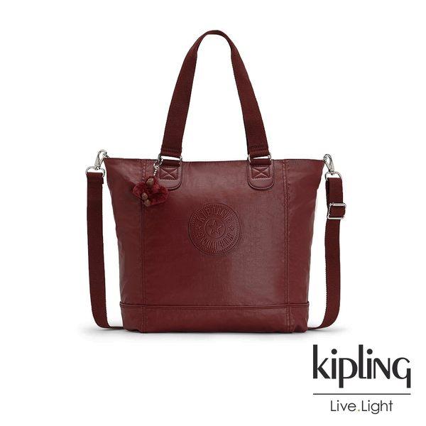 Kipling 雅緻紅褐素面手提側背包-SHOPPER