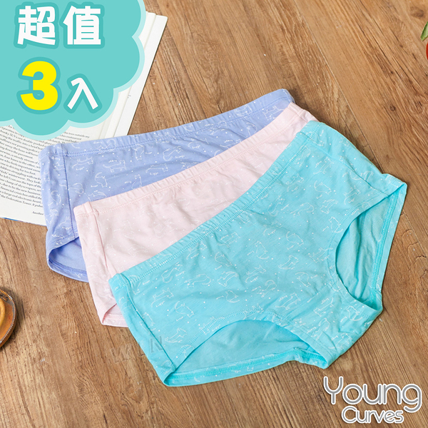 Young Curves 青少女童莫代爾親膚三角褲-混色3件組(C0420146)