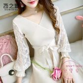 秋裝女裝新品正韓蕾絲針織秋冬季打底連身裙長袖 套裝裙子氣質