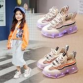 發光鞋-女童鞋子2021新款秋季亮燈兒童運動鞋男童網鞋透氣發光鞋usb充電