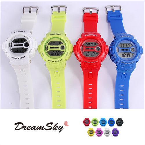 shhors 運動 電子錶 30米 防水手錶 類 baby G shock 數位錶 女錶 對錶 男錶 冷光 DreamSky