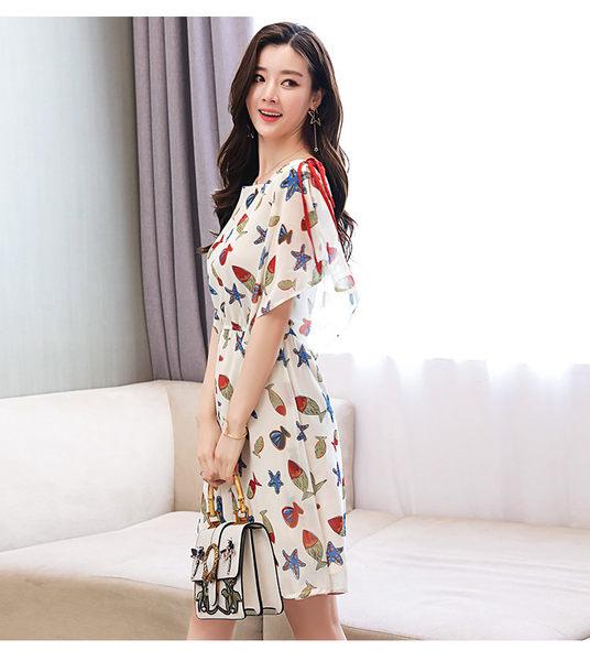 找到自己 G5 韓國時尚 海星 印花 圓領 短袖 復古裙 中長款 百搭 連身裙