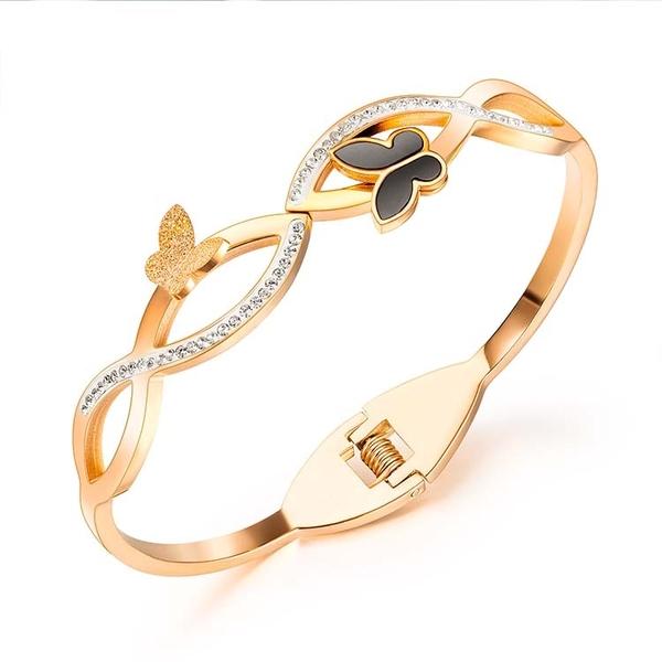 【5折超值價】鈦鋼手環蝴蝶鑲鑽設計造型時尚精美手環
