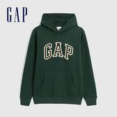 Gap男裝 Logo撞色字母連帽休閒上衣 618862-松樹綠