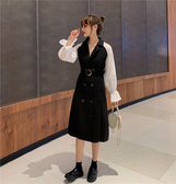 【GZ85】連身裙洋裝 五季家初秋新款減齡顯瘦連衣裙女胖妹妹mm大碼女裝複古西裝裙