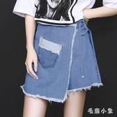 中大尺碼 牛仔短褲裙潮夏新款韓版假兩件女高腰 ys4063『毛菇小象』